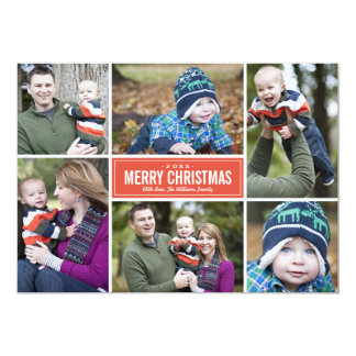 Photo Collage Christmas Greeting Card | Red