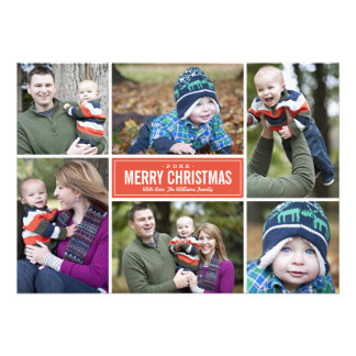Photo Collage Christmas Greeting Card Red Announcement