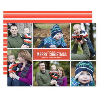 Photo Collage Christmas Greeting Card | Red Orange