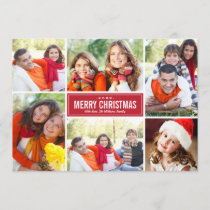 Photo Collage Christmas Greeting Card | Red White