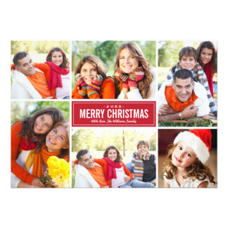 Photo Collage Christmas Greeting Card Red White