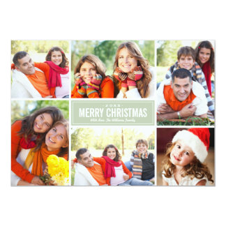 Photo Collage Christmas Greeting Card | Sage Green