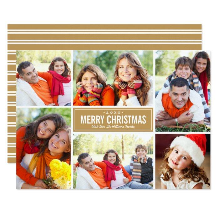 Photo Collage Christmas Greeting Card | Tan Brown