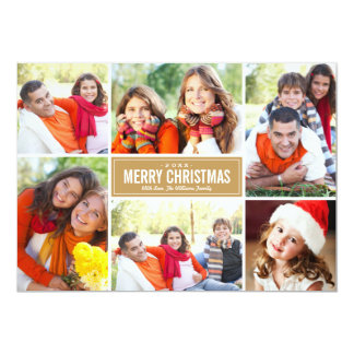 Photo Collage Christmas Greeting Card | Tan Brown