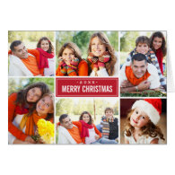 Photo Collage Christmas Greeting Folded Card | Red