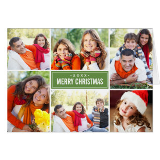 Photo Collage Christmas Greeting Folded | Green Card