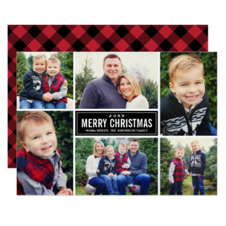 Photo Collage Christmas | Red and Black Plaid Card