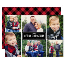 Photo Collage Christmas | Red and Black Plaid Holiday Card