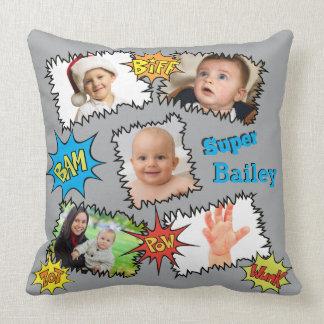 Photo Collage Comic Speech Bubble Bam Wunk Zot Throw Pillow