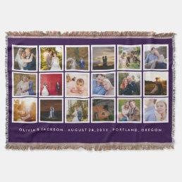 Photo Collage Custom Color Throw Blanket