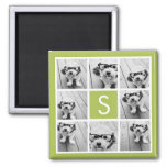 Photo Collage Custom Monogram - Lime Green 2 Inch Square Magnet