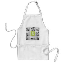 Photo Collage Custom Monogram - Lime Green Adult Apron