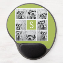 Photo Collage Custom Monogram - Lime Green Gel Mouse Pad