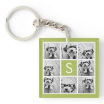 Photo Collage Custom Monogram - Lime Green Keychain