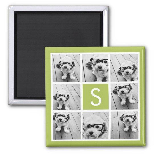 Photo Collage Custom Monogram - Lime Green Magnet