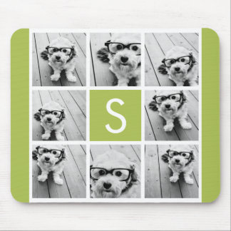 Photo Collage Custom Monogram - Lime Green Mouse Pad