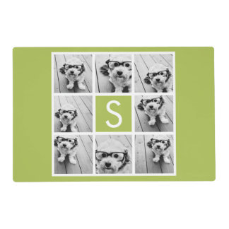 Photo Collage Custom Monogram - Lime Green Placemat