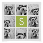 Photo Collage Custom Monogram - Lime Green Poster