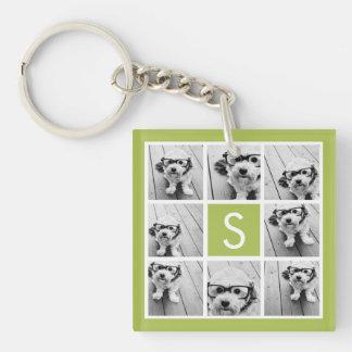 Photo Collage Custom Monogram - Lime Green Single-Sided Square Acrylic Keychain