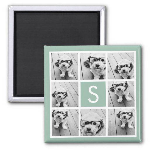 Photo Collage Custom Monogram Mint Green 2 Inch Square Magnet