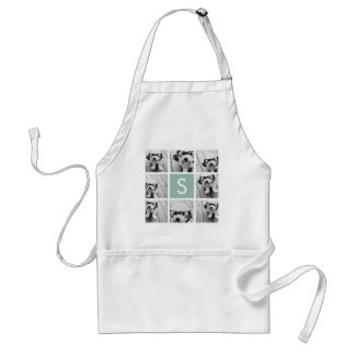 Photo Collage Custom Monogram Mint Green Aprons