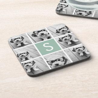 Photo Collage Custom Monogram Mint Green Beverage Coaster