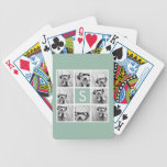 Photo Collage Custom Monogram Mint Green Bicycle Playing Cards