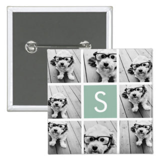 Photo Collage Custom Monogram Mint Green Buttons