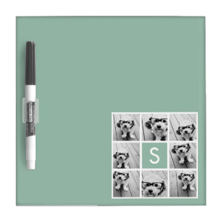 Photo Collage Custom Monogram Mint Green Dry-Erase Board