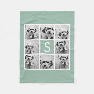 Photo Collage Custom Monogram - Mint Green Fleece Blanket