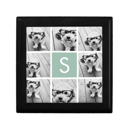 Photo Collage Custom Monogram Mint Green Trinket Boxes