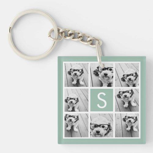 Photo Collage Custom Monogram Mint Green Keychain