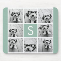 Photo Collage Custom Monogram Mint Green Mouse Pad