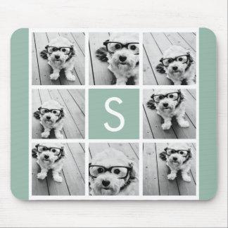 Photo Collage Custom Monogram Mint Green Mouse Pad
