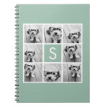 Photo Collage Custom Monogram Mint Green Spiral Note Books