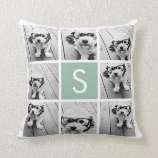 Photo Collage Custom Monogram Mint Green Throw Pillows