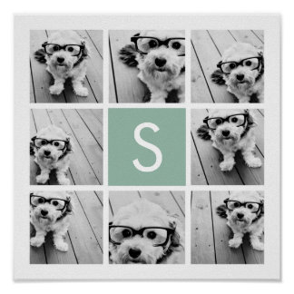 Photo Collage Custom Monogram Mint Green Poster
