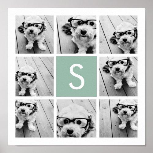 Photo Collage Custom Monogram Mint Green Poster