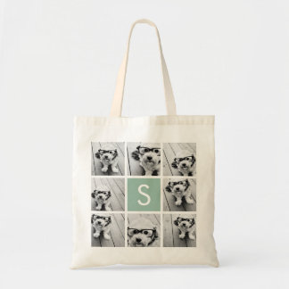 Photo Collage Custom Monogram Mint Green Tote Bag
