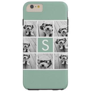 Photo Collage Custom Monogram Mint Green Tough iPhone 6 Plus Case