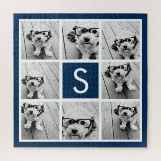 Photo Collage Custom Monogram Navy Blue Jigsaw Puzzle