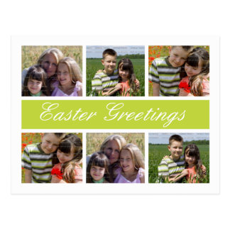 Photo Collage Customized Easter Postcards | Green