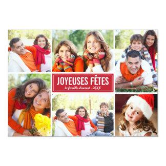 Photo Collage de Noël Carte de Voeux   en Rouge 5x7 Paper Invitation Card