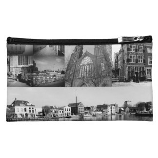Photo collage Delft 4 in black and white Makeup Bag