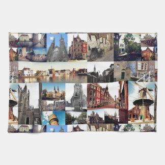 Photo collage Delft 6 Kitchen Towel