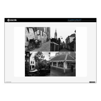 Photo collage Delft 7 in black and white Decals For Laptops