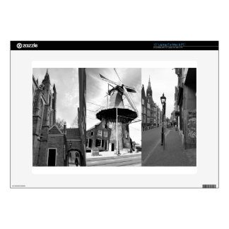 """Photo collage Delft 9 in black and white 15"""" Laptop Decals"""