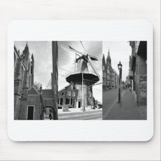 Photo collage Delft 9 in black and white Mouse Pad