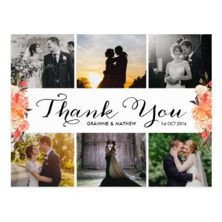 Photo Collage Fall Floral Wedding Thank You Postcard