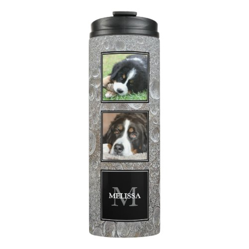 Photo collage family pets on ice frozen water thermal tumbler